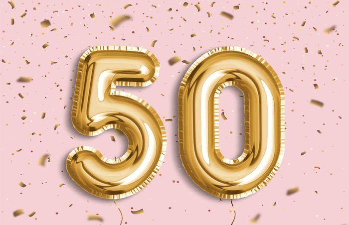 Golden number balloons displaying 50 on a pink and gold background.