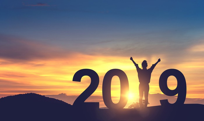 A woman silhouetted standing on a hill with her arms raised, forming the number one in 2019