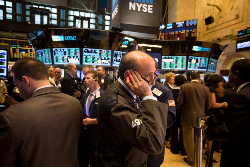 Active traders on NYSE floor