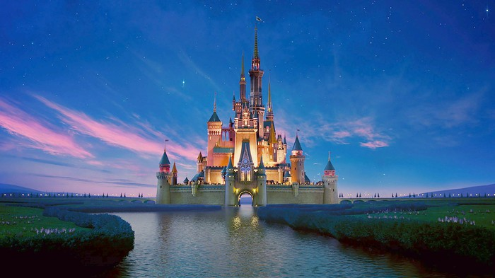 An illustration shows Cinderella's castle at Disney's Magic Kingdom under a sunset sky
